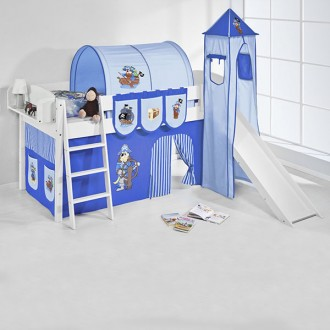 Pirates half-high bed with sllide blue-blue