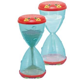 Hourglass with sand and water play beach
