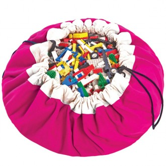 Fuchsia Toy storage bag and play mat 2 in 1