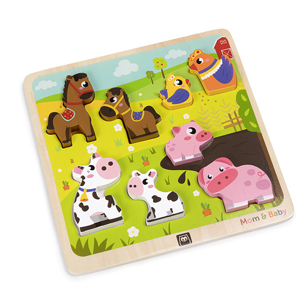 Puzzle mom and baby farm animal