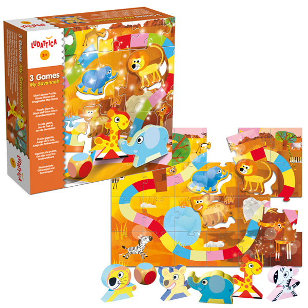 Puzzle y tabla de juegos 3 games my savannah
