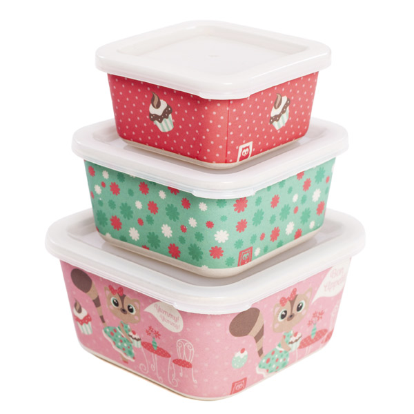 Set de 3 tuppers de bambú sweet lily