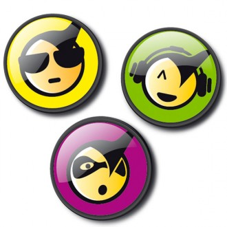 Chapas decorativas metallic emoticons cool para mochila roller