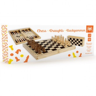 Estuche ajedrez damas y backgammon