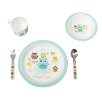 Set de vajilla de melamina Playful Owls
