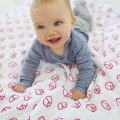 Manta blanket peace and dots girl rosa y beige